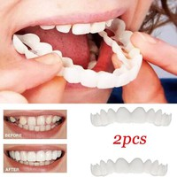 2Pcs False Teeth Comfort Fit Flex White Top Veneer Denture for Men Women Oral Supplies Orthodontic Braces Fake Teeth Cover