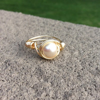 Ring glass pearl beige wire wrap gold plated custom size