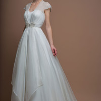 86-darla-s Full length silk duchess satin dress and organza coat