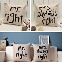 Mr Mrs Right Pillow Case Wedding Valentine's Day Gift Cushion Cover Home Decor Pillow Slip(1:Mr, 2:Mrs) [7981689671]