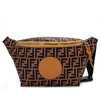 FENDI Trending Women Men Stylish Leather Canvas Sport Waist Bag Shoulder Bag Crossbody Satchel