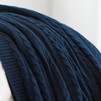 Cable Knit Throw - Navy