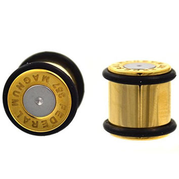 Pair of Gold IP Plated Steel Bullet Ear Plugs No Flare Gauges w/2 Black O-Rings - 00G (10mm)