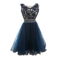 XCOS Women's Sweetheart Sleeveless Short Organza Homecoming Dresses 2015