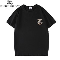 Burberry Fashion New Plaid Letter Print Women Men Top T-Shirt Black