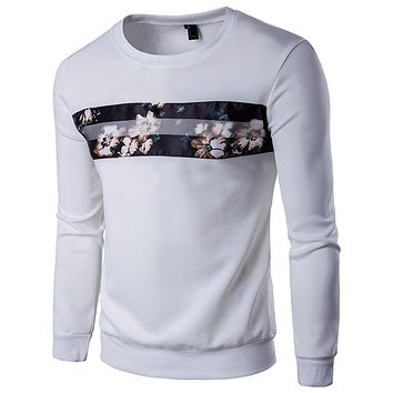 Autumn New Sweatshirt Men 2017 Brand Flower Printed Mens Sweatshirts Casual Hip Hop Round Collar Baseball Sweat Homme 5XL