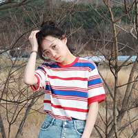 Summer Harajuku Women tshirts 2017 Colorful Striped Round Neck Short Sleeve T-shirt All-match Korean Style Street Top Cute Tee