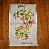 "Vintage 1960s Pure Linen Tea Towel ""Australian Eucalypt Flowers"" in Perfect Condition / Australian Wildflowers Kitchen Cloth"
