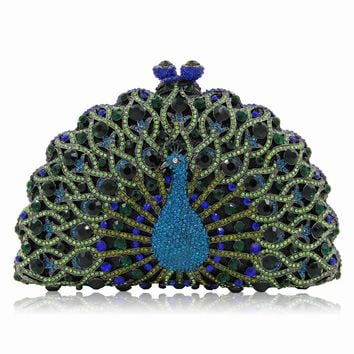 Peacock Bridal Metal Minaudiere Crystal Rhinestones Clutch Purse Bags