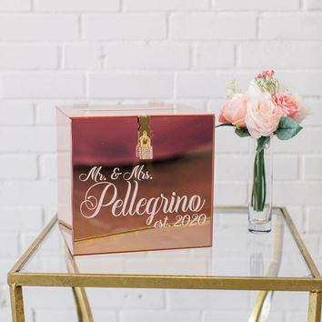 Rose Gold Mirror Acrylic Card Box I Custom Wedding Card Box | Lock & Key Wedding Card Box | Wedding Money Box | Wedding Card Holder