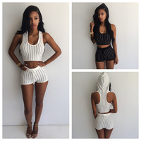 U-shape Collar Hooded Vest With Shorts Striped Activewear Set