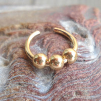 14K Gold Filled/925 Sterling Silver Beaded Ear Cuff or Fake Nose Ring,Fake piercing ring,cartilage,helix,tragus,ear hoop 18 Gauge/10-12mm