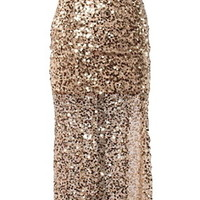 Met Ball Gown | Gold Sequin Open Back Slitted Maxi Dresses | RicketyRack.com