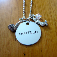 """Ariel Inspired Little Mermaid Necklace. Little Mermaid """"Snarfblat"""". Swarovski crystal. Hand stamped. For women or girls. FREE shipping."""