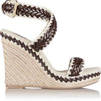 Tory Burch - Paloma leather and linen wedge sandals