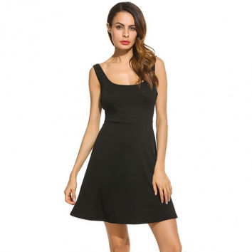 Women Scoop Neck Sleeveless Solid Side Hollow Fit And Flare Casual Dress