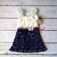 Ivory and Navy dress newborn dress Lace by MyLilSweetieBoutique