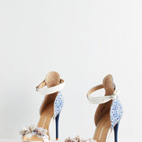 ModCloth Vintage Inspired Born to Stun Heel in Delft