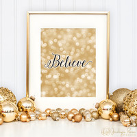 Believe print, Christmas gold and black bokeh wall art printable, Holiday decor (Printable wall art decor - Instant download - JPG)