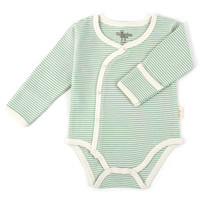 Tadpoles™ by Sleeping Partners Organic Cotton Long Sleeve Kimono Striped Bodysuit in Sage