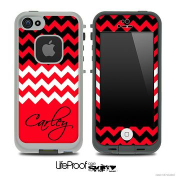 Red White and Black Chevron with Your Name Custom Skin for the iPhone 5 or 4/4s LifeProof Case
