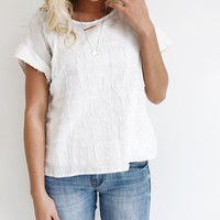 Pieces of Me Fray Top in Ivory