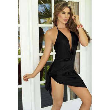 Black Strappy Plunging Cowl Neckline Top w/ Side Tie Dress (Available in Red & White)