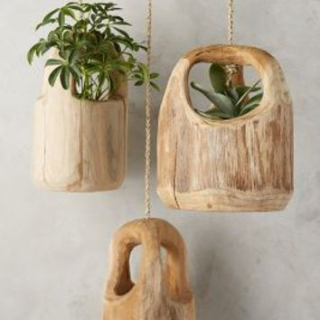 Teak Wood Hanging Planter by Anthropologie Wood One Size House & Home