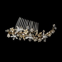 Opentip.com: Elegance by Carbonneau Comb-8561-gold Striking Gold Floral Bridal Hair Comb w/ Austrian Crystals 8561