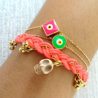 halloween skull bracelet set with an evil eye in green and pink day of the dead sugar skull turkish jewelry halloween best friend birthday