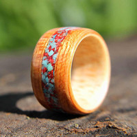 Bentwood Ring Maple Lined Brazilian Cherry with Turquoise and Crushed Red Coral Inlay