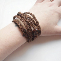 Braided Hemp Wrap Bracelet in Dark Brown, ready to ship.