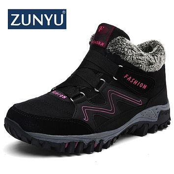 ZUNYU New Women Snow Boots Winter Ankle Ankleots Boots Warm Plush Platform Boots Fashion Female Wedge Shoes Snow Waterproof Boot