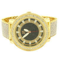 Fully Iced Out Lab Diamonds Designer 14k Gold Finish Band Men's Custom Watch