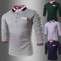 French Men's Slim Fit Long Sleeve Polo T-Shirt