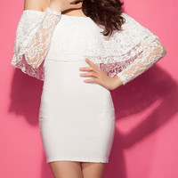 White lace Off-The-Shoulder Bodycon dress
