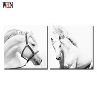 Framed White Horse Wall Christmas Canvas Pictures For Home Decor Cuadros Decoracion Animal Canvas Printing Posters And Arts