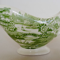 Green Transferware Sauce Pitcher Creamer Tonquin Swans and Roses