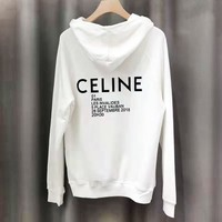 CELINE New fashion letter print couple high quality hooded long sleeve sweater White