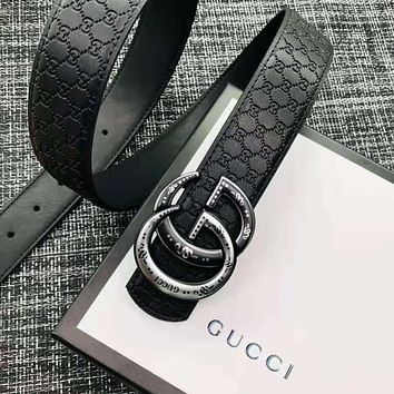GUCCI Hot Sale Men Fashion Double G Smooth Buckle Belt Leather Belt