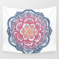 Radiant Medallion Doodle Wall Tapestry by Micklyn
