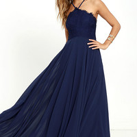 Everlasting Enchantment Navy Blue Maxi Dress