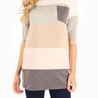 Ivory Multi-Colored Colorblock Maternity Top
