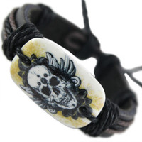 mens bracelet leather bracelet skull bracelet leather wrap bracelet black hemp bracelet for him