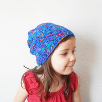 Unisex Kids Crochet Slouch Beanie Hat in Royal Blue with Rainbow Flecks, Ages 2-5 , ready to ship.
