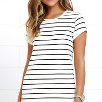 Cafe Society Black and Cream Striped Shirt Dress