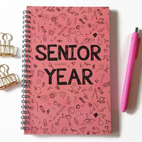 Writing journal, spiral notebook, sketchbook, bullet journal, doodles, high school, college, graduation gift, blank lined grid - Senior year