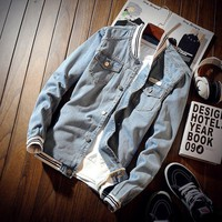 *online exclusive* men's denim bomber jacket