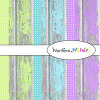 Digital Scrapbooking Paper Background Set – rustic shabby barn board and polka dots12x12 sheets  in aqua lime and purple INSTANT DOWNLOAD