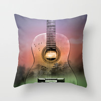 GUITAR MUSIC Throw Pillow by Mark Ashkenazi